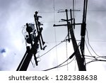 urban skyscape with telephone...   Shutterstock . vector #1282388638