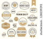 set of golden badges and... | Shutterstock .eps vector #128239292