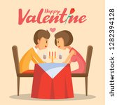 valentines day romantic candle... | Shutterstock .eps vector #1282394128