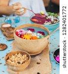 blue smoothie bowl for breakfast   Shutterstock . vector #1282401772