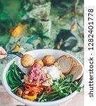 falafel salad with vegetables   Shutterstock . vector #1282401778