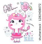 cute unicorn girl cartoon... | Shutterstock .eps vector #1282408072