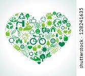 vector ecology concept   heart... | Shutterstock .eps vector #128241635