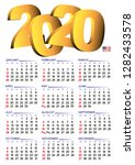 2020 calendar in english. year... | Shutterstock .eps vector #1282433578