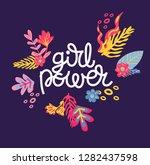 girl power lettering vector | Shutterstock .eps vector #1282437598
