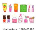 hand drawn various kawaii... | Shutterstock .eps vector #1282475182