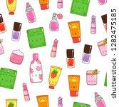 hand drawn various kawaii... | Shutterstock .eps vector #1282475185