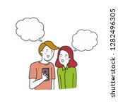 young couple looking at mobile... | Shutterstock .eps vector #1282496305