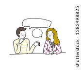 young man and woman talking in... | Shutterstock .eps vector #1282498825
