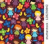 cute girl seamless pattern | Shutterstock .eps vector #128250842