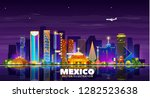 mexico night city skyline on a... | Shutterstock .eps vector #1282523638
