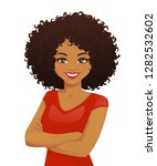 portrait of smiling woman with... | Shutterstock .eps vector #1282532602