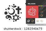 Religion black glyph silhouette and color editable stroke thin outline single icon with christian cross, jewish star of David, islamic star and crescent, chinese yin and yang symbols.