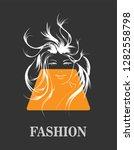 fashion girls face. woman face. ... | Shutterstock .eps vector #1282558798