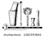 Stock vector professional bartender kit set cocktail shaker bar spoon hawthorne strainer jigger and muddler 1282592842