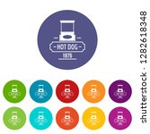 hot dog icons color set for any ... | Shutterstock . vector #1282618348