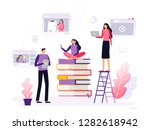 people take a distance... | Shutterstock .eps vector #1282618942