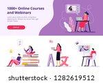online courses. women and men...   Shutterstock .eps vector #1282619512