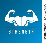 strength icon on a blue... | Shutterstock .eps vector #1282626322
