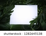 flat lay of white paper card... | Shutterstock . vector #1282645138