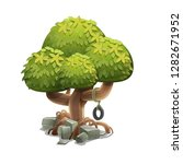 cartoon garden tree. vector... | Shutterstock .eps vector #1282671952