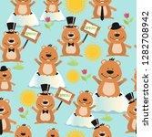 happy groundhog day design...   Shutterstock . vector #1282708942