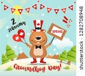 happy groundhog day design in...   Shutterstock . vector #1282708948