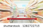 empty shopping cart with... | Shutterstock . vector #1282722715