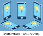 smartphone and lamp. isolated.... | Shutterstock . vector #1282722988