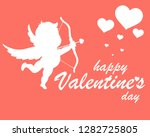 happy valentines day cute cupid.... | Shutterstock .eps vector #1282725805