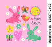 easter holiday and spring cute... | Shutterstock .eps vector #1282742602