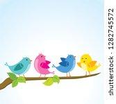 cute birds on the tree branch | Shutterstock .eps vector #1282745572