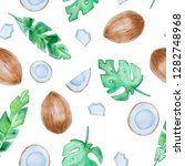 hand drawn watercolor tropical... | Shutterstock . vector #1282748968