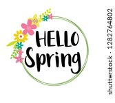 hello spring with wreath design ... | Shutterstock .eps vector #1282764802
