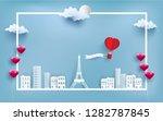 hot air balloon carrying love... | Shutterstock .eps vector #1282787845