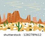 snow in desert. illustration of ... | Shutterstock .eps vector #1282789612