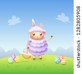 sheep with bunny ears and... | Shutterstock .eps vector #1282805908