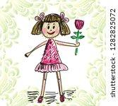 girl with flower. vector... | Shutterstock .eps vector #1282825072