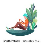 concept in flat style. young... | Shutterstock .eps vector #1282827712