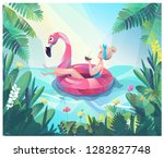 concept in flat style with... | Shutterstock .eps vector #1282827748