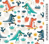 cute crocodile seamless pattern.... | Shutterstock .eps vector #1282836028