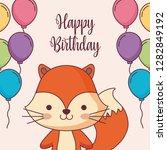 cute fox happy birthday card... | Shutterstock .eps vector #1282849192