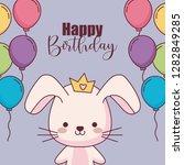 cute rabbit happy birthday card ... | Shutterstock .eps vector #1282849285
