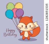 cute fox happy birthday card... | Shutterstock .eps vector #1282851535
