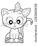 cute kitty outline coloring... | Shutterstock .eps vector #1282860658