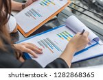 the sales team compare the... | Shutterstock . vector #1282868365