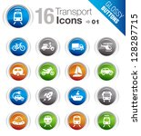 glossy buttons   transportation ...   Shutterstock .eps vector #128287715