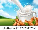 almond milk pouring with splash ... | Shutterstock .eps vector #1282883245