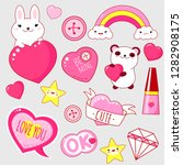set of cute valentine's day... | Shutterstock .eps vector #1282908175