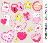 set of cute valentine's day... | Shutterstock .eps vector #1282908178